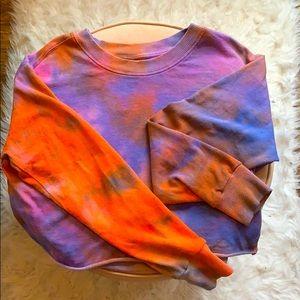 Cropped Tie-Dye Crew Neck Sweatshirt